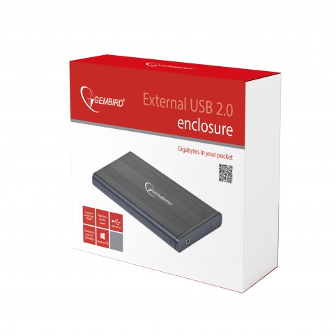 Карман Gembird EE2-U2S-5 2,5'' SATA, USB2.0, алюминий, черный