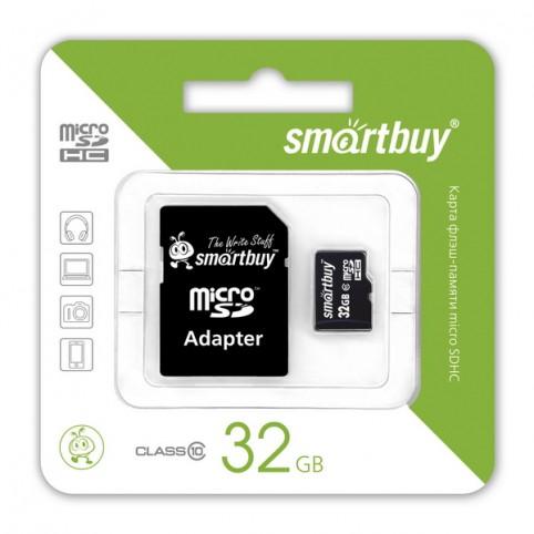 Карта памяти microSDHC [класс 10] 32 GB Smartbuy + SD адаптер (SB32GBSDCL10-01)