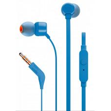 Внутриканальные стереонаушники JBL T110 BLU, 3.5 мм, вкладыши, синий [jblt110blu]